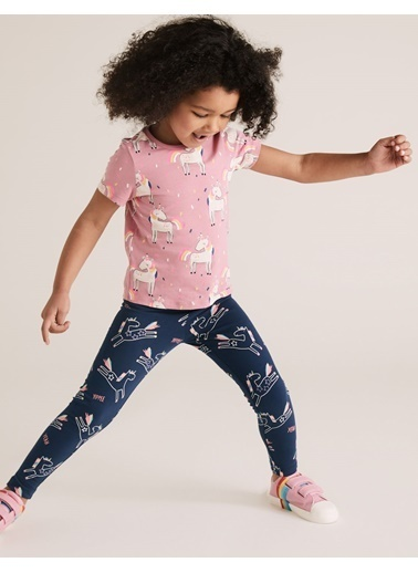 Marks & Spencer Unicorn Desenli Pamuklu Tayt Lacivert
